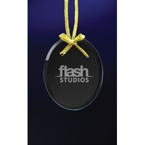 Clear Oval Ornament w/Laser Etch Imprint