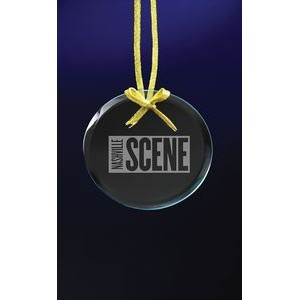 Clear Circle Ornament w/Laser Etch Imprint